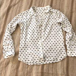 Uniqlo white swan long sleeve shirt